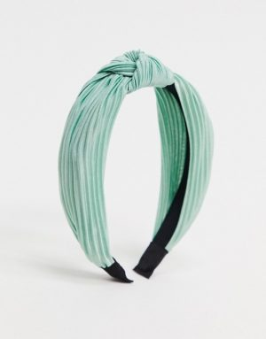 My Accessories London Exclusive plisse knotted headband in sage green