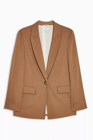 Tan Soft Single Breasted Suit Blazer