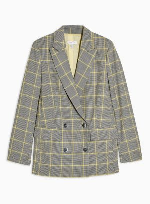 Grey And Yellow Check Double Breasted Blazer