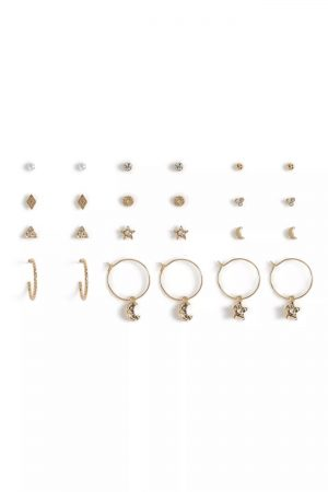 Pack Of 12 Star And Moon Earrings